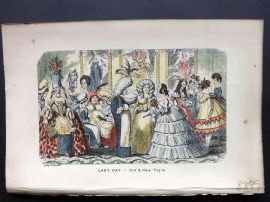 Cruikshank C1860 HCol Satire Print. Lady Day - Old & New Style